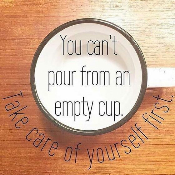 picture of cup and message about self-care
