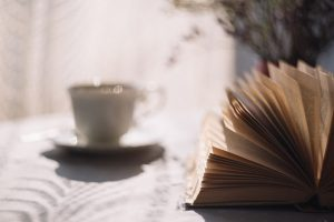 coffee cup with book
