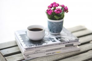 7 habits of my morning routine Coffee and books on a table-Simply Shine